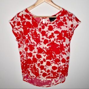 Cynthia Rocket Flower Print Coral Ivory Blouse Med